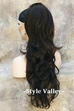 Brown Black Ponytail Extension Hairpiece Long Wavy Clip in on Hair Piece #2