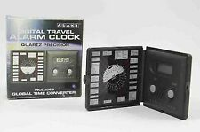Digital Travel Alarm Clock Global Time Converter Table Folding Office Pocket