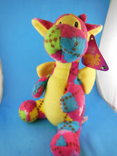 "Colorful Dragon Plush 11"" Patchwork Print Fleece Sugar Loaf MWT"