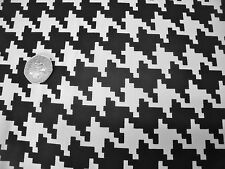 COTTON TWILL HOUNDSTOOTH PRINT-BLACK/WHITE -FASHION/CRAFT FABRIC-FREE P&P