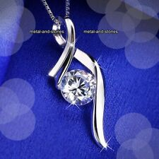 SPARKLING Silver Crystal Pendant Necklace Promise XMAS Gifts For Her Wife Women