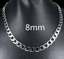 Free Shipping Jewelry Silver 8mm 20inch Men's Curb Chain Necklace