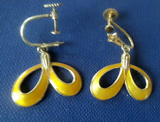 Norwegian Silver & Yellow Enamel Screw Back Earrings  -  Albert Scharning Norway
