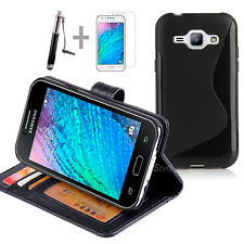 BLACK Wallet 4in1 Accessory Bundle Kit TPU Case Cover F Samsung Galaxy J1 J100Y