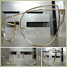 New UNIQUE VINTAGE RETRO CAT EYE Style Clear Lens EYE GLASSES Gold Fashion Frame