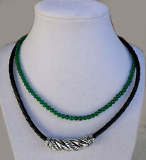 JAI JOHN HARDY Sterling SILVER Slide Leather & GREEN AGATE Bead Necklace New
