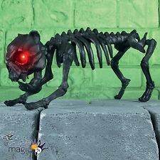 Halloween 40cm Black Barking Skeleton Dog Light Up Eyes Animated Decoration Prop