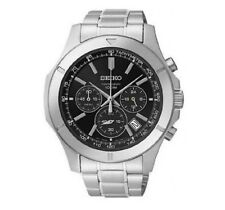 Seiko Mens Quartz Watch Chronograph  Stainless Steel Strap Tachymeter SSB105P1