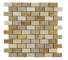 Sample of Light & Walnut & Gold Mixed Brick Travertine Mosaic Tiles