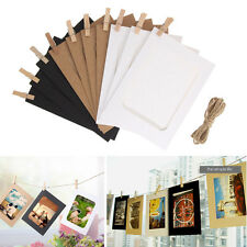 10X DIY Paper Photo Wall Art Picture Hanging Album Frame With Hemp Rope Clips