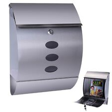 Stainless Steel Wall Mount Mail Box w/ Retrieval Door & Newspaper Roll & 2 Keys