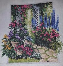 FLORAL TRELLIS  Handcrafted/Completed  Cross Stitch Picture