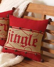 """Mud Pie """"Jingle"""" Bell Accented Pillow Wrap Red Burlap 15"""" Sq Pillow Insert"""