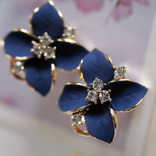Womens Lady Girls Blue Flower Charm Crystal Ear Stud Earrings Jewelry Gift