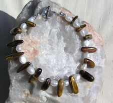 "Gold Tiger Eye & White Freshwater Pearl Gemstone Crystal Bracelet ""Aaly"""