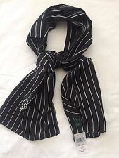 NWT Ralph Lauren POLO 100% SILK SCARF Wrap WOMEN Shawl Belts Black White-13x 59