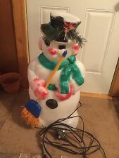 RARE FIBER OPTIC SNOWMAN 30 INCHES BLOW MOLD HOLIDAY CHRISTMAS YARD DECOR