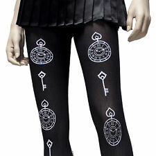 HOT TOPIC LOVESICK WHIT PRINT CLOCK  TIME KEY  BLACK OPAQUE TIGHTS  HARD 2 FIND