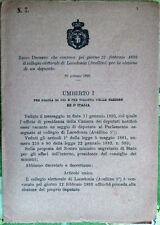 1893/7 Regio Decreto che convoca collegio di LACEDONIA Avellino per elezione dep