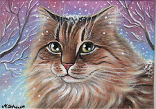 Original Painting 5 x 7 by Artist Marta Oktaba Long-Haired Cat in Winter Snow