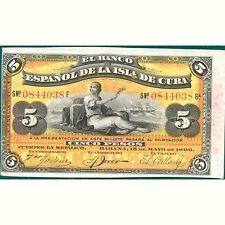 Banco Español de Cuba. 5 Pesos La Habana 15 Mayo 1896. excelente EBC XF