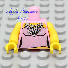 NEW Lego Female PINK SHIRT MINIFIG TORSO Girl Camisole Top Silver Heart Necklace