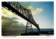 Astoria Bridge Oregon Postcard Night Falls Clouds Sky View Columbia River Vtg