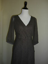 Chic Banana Republic Dress, Brown Leaf Print, Work Career, Autumn 100% Silk Sz 2