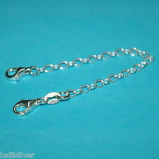"Sterling Silver 925 4"" Safety CHAIN EXTENDER with 2 Lobster Clasps - Real Silver"