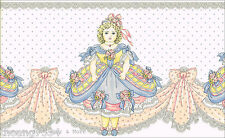 Victorian Vintage Antique Doll Pink Ribbon Bow Blue Dress Lace Wallpaper Border