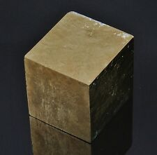 "PYRITE Large Gold Cube Crystal Spain 165.7 grams 1.32""w/ Healing Property Card"