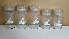 Vintage Set of 5 Anchor Hocking Tienshan Country Goose Glass Jars 32 & 26 oz