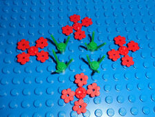 Lego Red Plant Flower and Plant Stem Lot of 4 P/N 3741, 3742 *NEW PARTS*