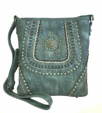 Montana West Concealed Gun Messenger Purse Cross Body Cutouts Concho Turquoise