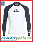 Quiksilver Men's Rashguard Long Sleeve All Time 50+ UV Protection - White/Blue