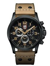 NEW LUMINOX FIELD WATCH CHRONO ALARM BLACK DIAL BROWN LEATHER STRAP 45MM 1945
