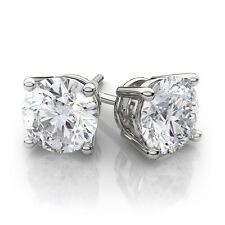 5CT 14k White Gold Round Lab Created Diamond Earrings Basket Solitaire Studs