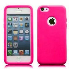 Hybrid TPU Wrap-up Case with Built-in Screen Protector for iPhone 5C - Hot Pink