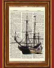 Ship Dictionary Art Print Picture Book Nautical Ocean Water Vintage Boat Poster