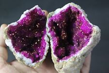 314g quartz crystal whole geode matching pair fairy cave pink coloured no 462