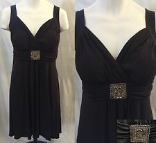Brown Knit Cocktail Dress Size 16W Empire Waist Beaded accent En Focus