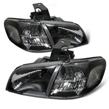 Fit 1997-2005 Pontiac Montana Chevy Venture Black Headlights Pair