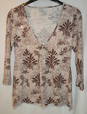 LOVELY marrone a fiori Next Top con paillettes UK Taglia 12 100% COTONE-Gratis P&P