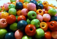 100 ROUND WOODEN ROUND SPACER BEADS - 10mm - MIXED COLOURS................B174 *