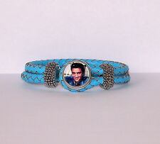 REAL LEATHER CHARM BRACELET-BLUE-GLASS SNAP ON CHARM - ELVIS PRESLEY