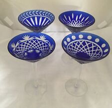 Beautiful Vintage Bohemian Crystal Martini/Cocktail/Wine Glass Goblet Blue Set 4