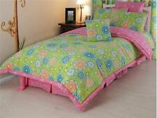 FLOWER POWER 4 pc SET QUEEN COMFORTER BEDDING SET GREEN / PINK FLORAL PRINT