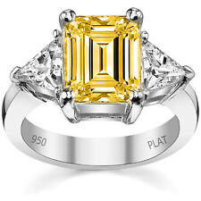 5.26 Ct FANCY YELLOW EMERALD TRIANGLE DIAMOND SOLITAIR ENGAGEMENT RING PLATINUM