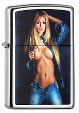 NEUHEIT! ZIPPO Feuerzeug HANDLE WITH CARE Street Chrome Sexy Girl Jeans NEU OVP