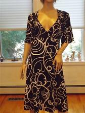 Vintage Designer Flora Kung 100% Silk Black White Abstract Dress Size 10